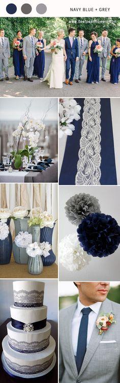 navy blue and grey wedding color combo ideas for 2018 #blueweding #weddingcolors #weddingideas / http://www.deerpearlflowers.com/navy-blue-wedding-color-combo-ideas/