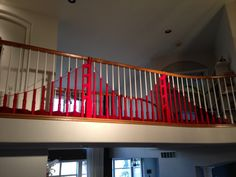 Yarn bombing your banister for a San Francisco themed party.
