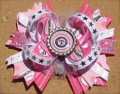 LOVE!!!! Pink TEXAS RANGERS Hair Bow Bottle Cap Center by PolkaDotzBowtique, $10.49