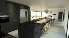 Cuisine moderne haut de gamme design gris anthracite et bois cuisiniste paris rouen