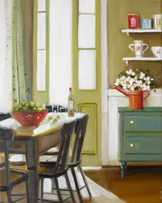 A red watering can by Janet Hill