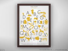 I love this in yellow, but blue would be better for the room.  But somehow the blue looks dark.  Animal Alphabet Poster - Unframed - 8.5 x 11. $22.00, via Etsy.