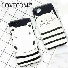 Lovely Cartoon Hippo Stripe Cat Animal Soft Silk Phone Back Cover Case For iPhone 7 7 Plus Mobile Phone Bags & Case //Price: $8.95 & FREE Shipping //     #catgift