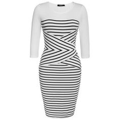FINEJO Fashion Women Casual O-neck 3/4 Sleeve Patchwork Striped Bodycon Pencil Dress S-XXL
