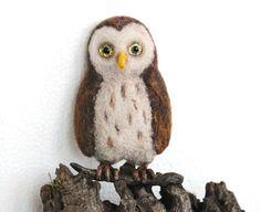 Needle felt brooch Owl Bird brooch Hand Felted Brooch by katuasha, $34.00