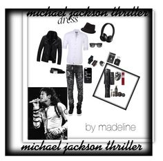 """""""Michael Jackson Thriller"""" by madelinerich ❤ liked on Polyvore featuring Philipp Plein, Stone Rose, Movado, West Coast Jewelry, Beats by Dr. Dre, BKE, The British Belt Company, Ray-Ban, Ralph Lauren and Axe"""