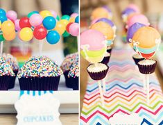 SOO cute. Can be like UP theme!! Rainbow Hot Air Balloon Birthday Party