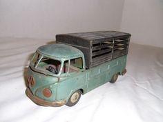 VINTAGE BANDAI FRICTION TIN TOY VOLKSWAGEN,VW Livestock Truck 1950s Japan *RARE* #Bandai