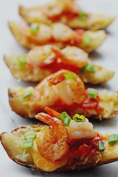 With its #ComfortFood flavors and snack-able size, these delicious Shrimp Nacho Potato Skins are sure to please all your guests.