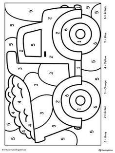 Color By Number Truck Kindergarten Worksheets Printable Coloring Worksheets For Kindergarten Kindergarten Colors