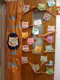 owl door decoration - for owl or bird themed classroom