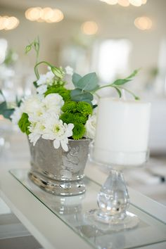 Green and white centerpiece | Photo by Christine Meintjes #green #white #centerpiece