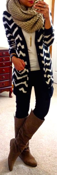 Chevron Cardigan With Long Boots