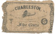 South Carolina Confederate Money City of Charleston Five Cents 1862 Good