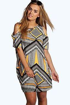 Plus Ruby Aztec Print Open Shoulder Shift Dress