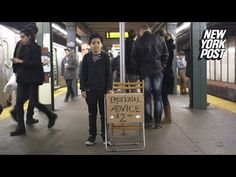 This amazing kid has turned the subway platform into a therapy office - YouTube