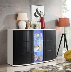 SB Laredo - black & white chest of drawer Cheap Black Dresser, Tall White Dresser, Modern Chest Of Drawers, Small Dresser, Modern Dresser, Double Dresser, Armoire Buffet, Sideboard Cabinet, Drawer Storage Unit