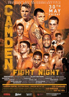 camden fight night boxing poster design