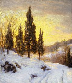 Winter Sundown, (oil on canvas) by Palmer, Walter Launt (1854-1932), Snow