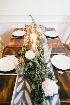 geometric lanterns, eucalyptus, pink peony table scape
