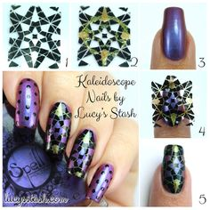 Kaleidoscope Nails with Spell Polish + TUTORIAL http://www.lucysstash.com/2014/11/kaleidoscope-nails-with-spell-polish-tutorial.html