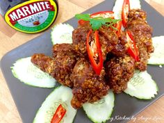 Homestyle marmite chicken involves deep frying large pieces of chicken & coating them with a thick, sticky & sweet sauce. Great for sharing with friends.