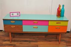 Retro Vintage Sideboard/Drawers with Coloured Drawers Glass Top | eBay