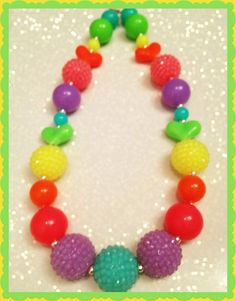 Neon Rhinestone Chunky Beaded Necklace by LilypadandsandPiper, $14.00