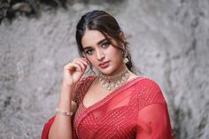 Nidhhi Agerwal (Born May is an Indian Actress, Model and Dancer. She mainly works on Bollywood and South Indian Film Industry. Beautiful Girl Indian, Most Beautiful Indian Actress, Beautiful Women, Beautiful Lips, Nidhi Agarwal Hot, Red Saree, Celebrity Gallery, Beautiful Bollywood Actress, Indian Beauty Saree