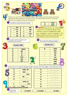 Numbers *4 pages* with exercises + key
