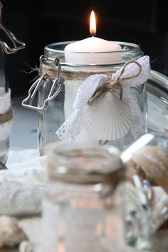 Hochzeit, wedding decoration, Strand, Meer, maritime Hochzeit, Strandhochzeit, Country wedding, vintage, Muscheln, Sand, shabby decoration, Windlicht, DIY, Teelicht, Herz, Juteband