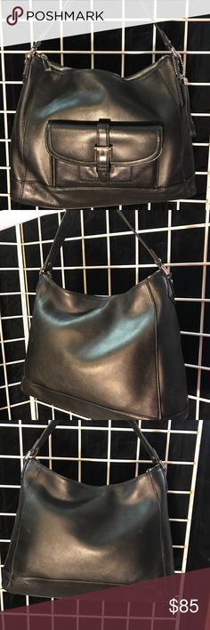 """Vintage Leather Coach Purse Authentic leather Coach purse 13"""" tall 10"""" across. This large purse is in excellent condition. Black leather exterior with black interior. Coach Bags Shoulder Bags"""