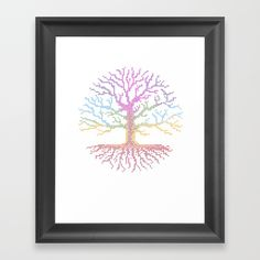 Framed Art Print 5 Rainbow Chakra Tree of Life - Real Stitch-able Color Coded Cross Stitch Chart by X Stitch Patterns by MadZakka