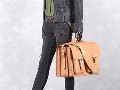 Aktentasche mit 3 Fächern Leder Herren Damen Schultasche Lehrertasche Businesstasche Tasche Umhängetasche natur braun