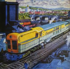 """""""Coaling the 'Chessie'"""" (C&O) by Frederick Blakeslee - Cover illustration for Railroad Magazine, August 1948, Vol. 46, No. 3"""