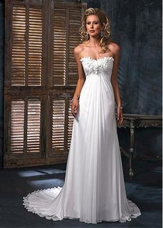 Charming Elegant Chiffon & Satin A-line Scooped Neckline Empire Waist Wedding Dress