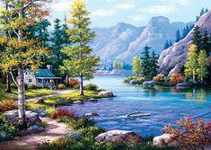 Versteckte Hütte am See