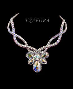 """Now's the Time"" - Swarovski ballroom necklace. Ballroom dance jewelry, ballroom dance dancesport accessories. www.tzafora.com Copyright © 2016 Tzafora."