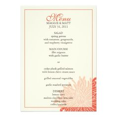 Peeking Chrysanthemum Wedding Menu Announcement