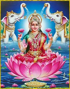 Lakshmi is the Hindu god of wealth, fortune & prosperity and also the wife of Lord Vishnu. Here is a collection of Goddess Lakshmi Images & HD wallpapers. Indian Goddess, Goddess Lakshmi, Deus Vishnu, Lakshmi Images, Lord Shiva Family, Lord Vishnu Wallpapers, Hindu Culture, Lord Murugan, Tanjore Painting
