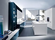 Kitchen, Modern Kitchen Design Islands In The Middle High Gloss Blue Color Open Shelves Built Stove.jpg: Amazing Great
