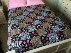 Hearts and Animal Print Quilt by LoveErinMarie on Etsy