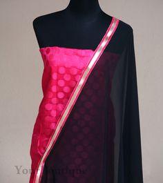 PM001-1 Pink chanderi silk kurta, coton silk bottom with chiffon dupatta