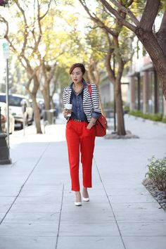 AG_Jeans_chambray_shirt_Joie_trousers_Celine_trapeze_chriselle_lim_1