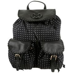 Pre-owned Tory Burch Polka Dot Book Bag Backpack ($225) ❤ liked on Polyvore featuring bags, backpacks, black white, nylon drawstring bag, black and white backpack, dot backpack, drawstring flap backpack and drawstring bag