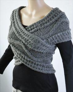 Super Slim - Cruz suéter/capucha/calentador del cuello de color gris oscuro