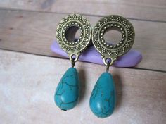 "Pair of Antique Brass Tribal Tunnels with Turquoise Bead Charms - Girly Gauges - 0g, 00g, 7/16"", 1/2"", 9/16"""