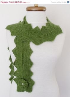 CHRISTMAS SALE Green Star Mohair Scarf-Ready for by knittingshop
