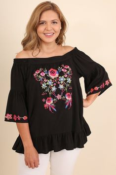 b5caaafe5518 Plus Size - Poppy Off The Shoulder Embroidered Top - Black · Bohemian Style  DressesBoho ...