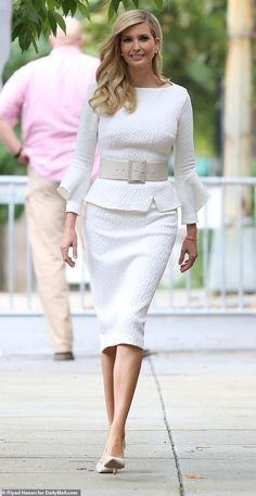 Elegant: Ivanka Trump cut a glamorous silhouette as she left home on Thursday morning in an all-white outfit Ivanka Trump Style, Ivanka Trump Outfits, Ivanka Trump Shoes, Dress Outfits, Fashion Dresses, Peplum Outfit, Office Outfits, Work Outfits, White Outfits